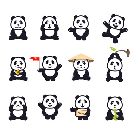 panda: set of cute funny cartoon pandas