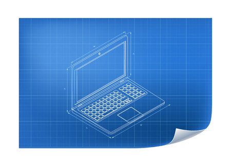 Technical Illustration with laptop drawing on the blueprint