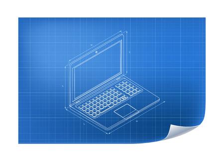 Technische Illustratie met laptop tekening op de blauwdruk Stockfoto - 44230920