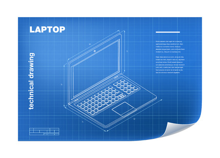 blueprint: Technical Illustration with laptop drawing on the blueprint