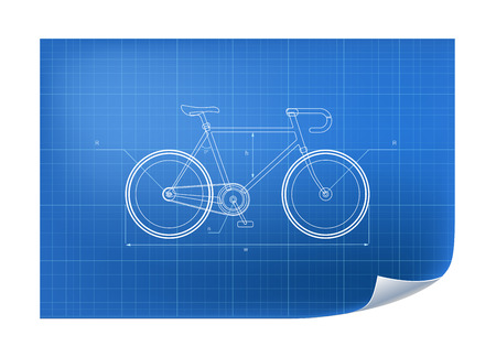 Technical Illustration with bicycle drawing on the blueprint Vettoriali