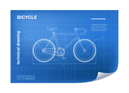 Technical Illustration with bicycle drawing on the blueprint Stock Photo