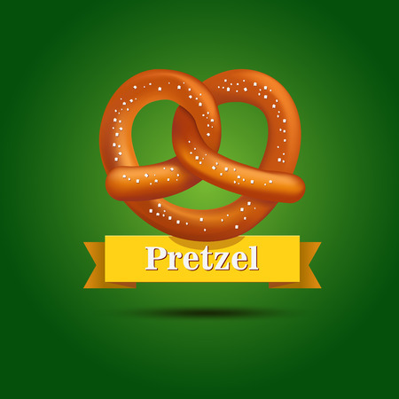bretzel: Realistic vector tasty pretzel on the green background. Poster template. Illustration