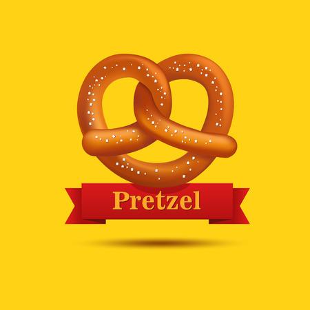 bretzel: Realistic vector tasty pretzel on the yellow background. Poster template.