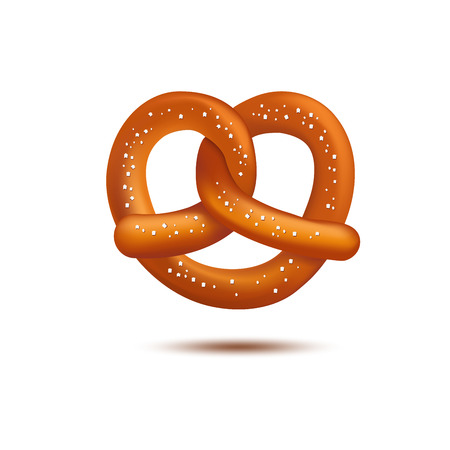 bretzel: Realistic vector tasty pretzel on the white background