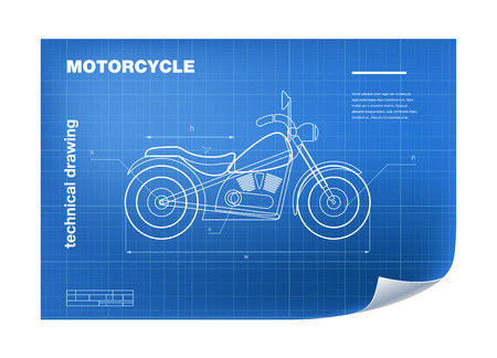 Technical wireframe Illustration with motorbike drawing on the blueprint