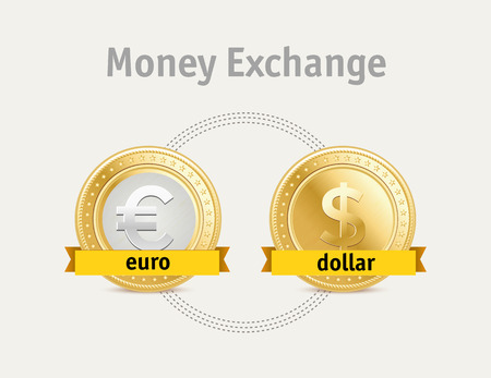 dollar symbol: Vector currency exchange, business symbols concept. Dollar and euro coins. Illustration