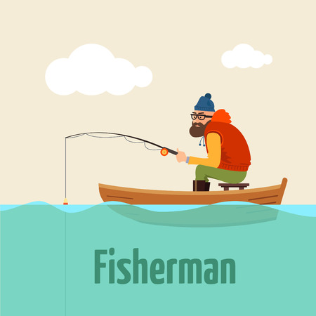 Fishing on the boat. Vector retro illustration of fisherman. Vettoriali