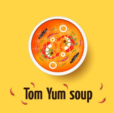 lemon grass: Tom yum - thai spicy soup. Top view