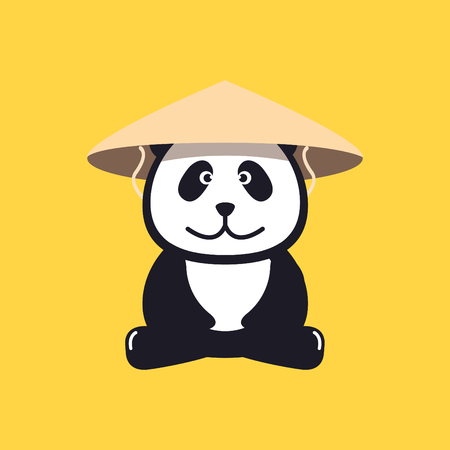conical: Panda in Chinese conical straw hat Illustration