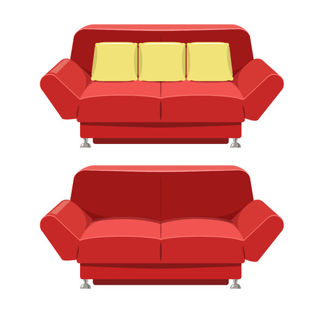 double volume: sofa couch design in vector format. Front view