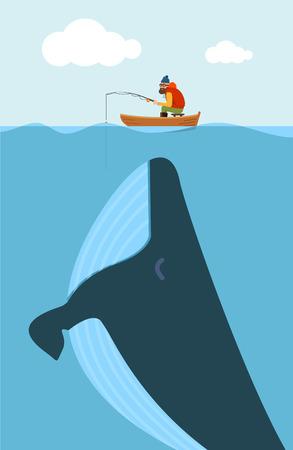 Ilustración vectorial de pescador y enorme ballena. Concepto cartel creativo.