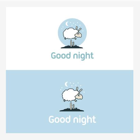 Illustratie van de schapen springen over het hek. Logo elementen concept. Stock Illustratie