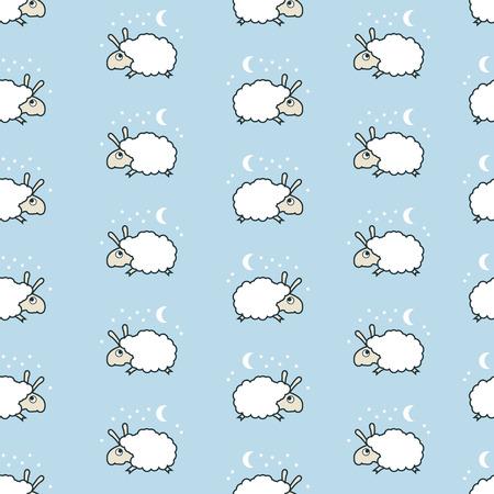 seamless sheep pattern. Lamb jumping. Vettoriali