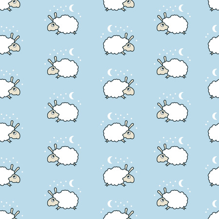 blue prints: seamless sheep pattern. Lamb jumping. Illustration