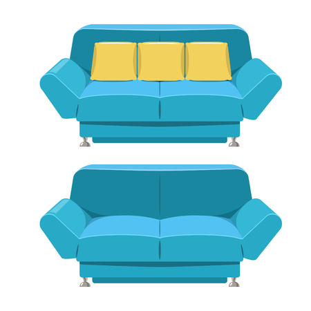 double volume: Blue sofa couch design in vector format. Front view