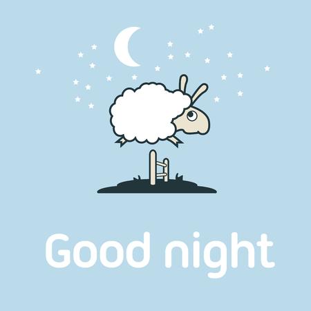 Illustratie van de schapen springen over het hek. Postcard elementen concept.