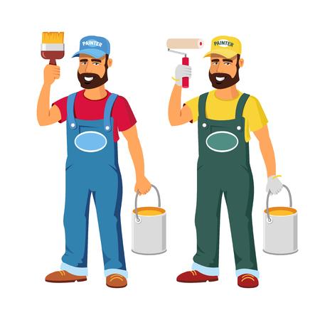 pintor de casas: pintor sonriente vestido con ropa de trabajo es la celebración de brocha y un cubo