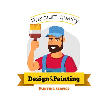 pintor de casas: Pintor Sonreír es la celebración de pincel. Servicio de pintura - vector insignia concepto. Vectores