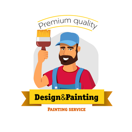 painter cartoon: Smiling painter is holding brush. Painting service - vector badge concept.