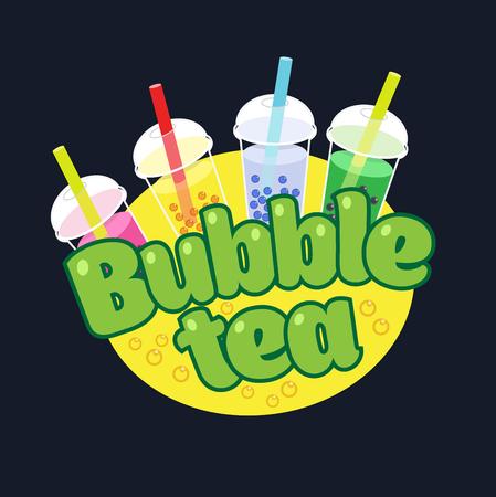 mango juice: Bubble Tea concept logotype. Milky drink cup illustration.