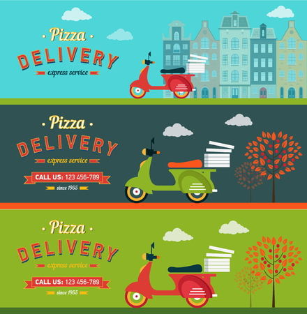 Delivery: Fast food and pizza delivery horizontal banners set flat isolated vector illustration Illustration
