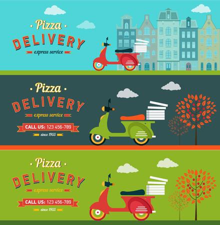 vespa piaggio: Fast food e di consegna della pizza banner orizzontale impostare piatto isolato illustrazione vettoriale Vettoriali