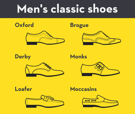 Graphic set icons of flat classical mens shoes