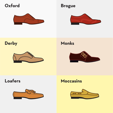 men's shoes: Graphic set icons of flat classical mens shoes