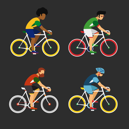 frizzy: Cycling sport bicycle men icons set
