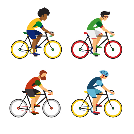 Cycling sport bicycle men icons set