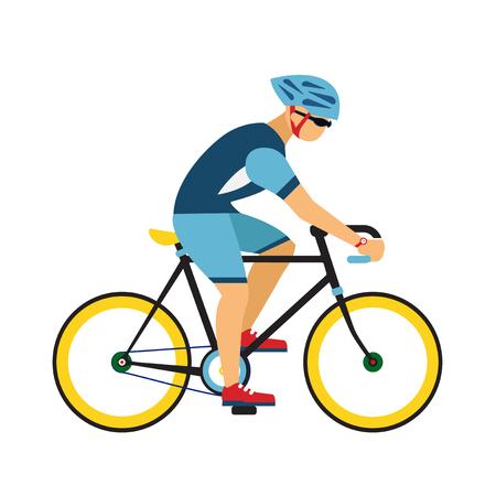 Man ride by road bicycle Çizim