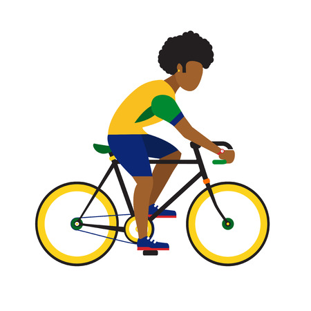 frizzy: black man ride by road bicycle