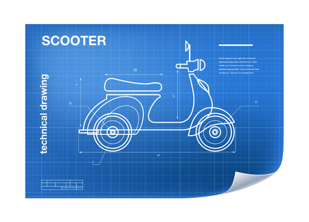 motor scooter: Technical wireframe Illustration with scooter drawing on the blueprint