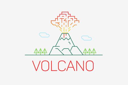 volcano mountain top exploding: Volcano exploding thin line icon, modern flat design Illustration