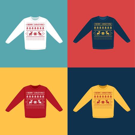 Lelijke sweaters van Kerstmis of jumpers met herten pictogrammen instellen Stock Illustratie