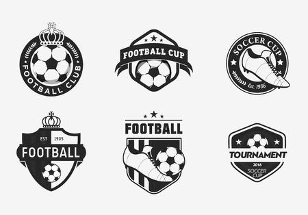 pelota de futbol: Conjunto de color de la vendimia logotipos del campeonato de fútbol de fútbol e insignias del equipo Vectores