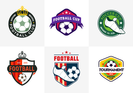 soccer shoe: Set of vintage color football soccer championship logos and team badges
