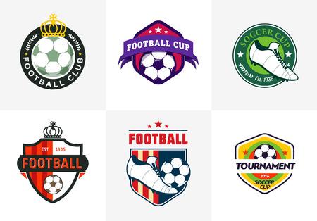 Set Weinlesefarbenfußball Fußballmeisterschaft Logos und Teamabzeichen
