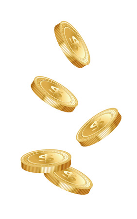 Five gold dropping coins isolated on white background