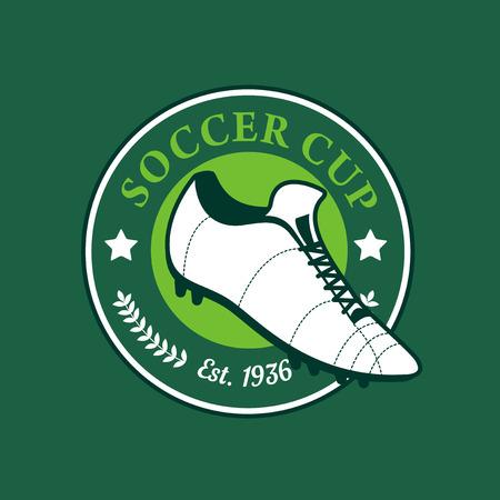 soccer shoe: Vintage color football soccer championship logo