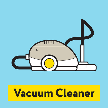 vacuum cleaner: The flat icon of vacuum cleaner silhouette on the blue background Illustration