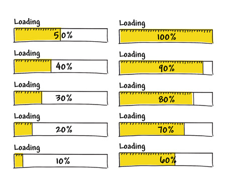 prototype: Set of progress loading bars from 0 to 100 percent complete, hand drawn yellow black marker elements for prototype Illustration