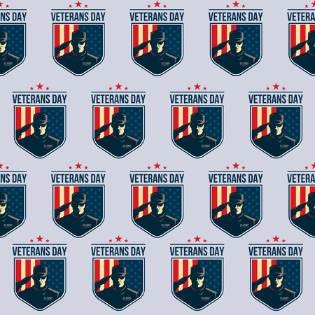 day sign: Pattern of Shield with Soldier saluting against USA Flag
