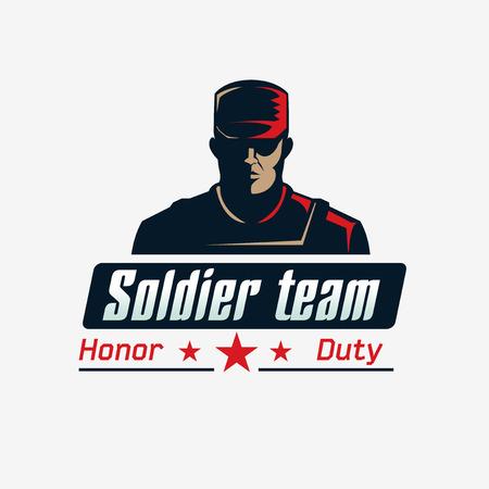 bulletproof: Soldado plantilla logotipo del equipo. Hombre serio en chaleco antibalas y una gorra. Vectores