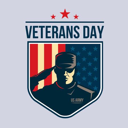 soldado: Ilustración de escudo con Soldado que saluda contra EE.UU. bandera. Día de los Veteranos Vectores