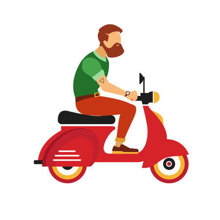 city man: hipster young man character with retro red scooter isolated on the white background Illustration