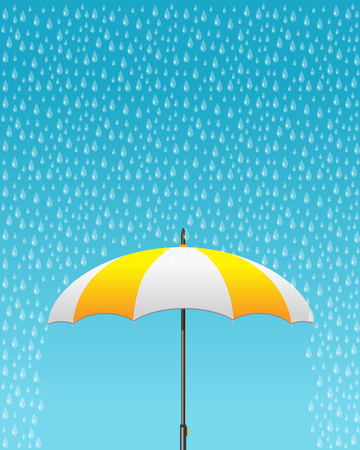 fall protection: Vector illustration of striped opened umbrella icon with heavy fall rain in the blue sky. Care and weather protection