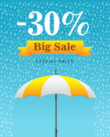 Vector illustration of a background for Happy Monsoon Sale. Vettoriali