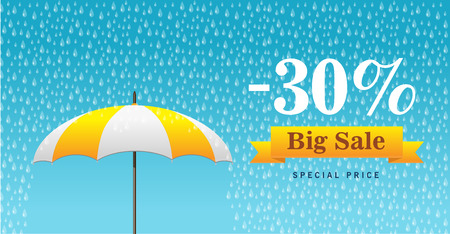 rainy day: Vector illustration of a background for Happy Monsoon Sale. Illustration